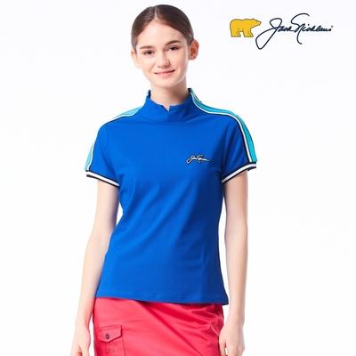 【Jack Nicklaus】金熊GOLF女款蜂巢布料彈性吸濕排汗POLO衫-藍色