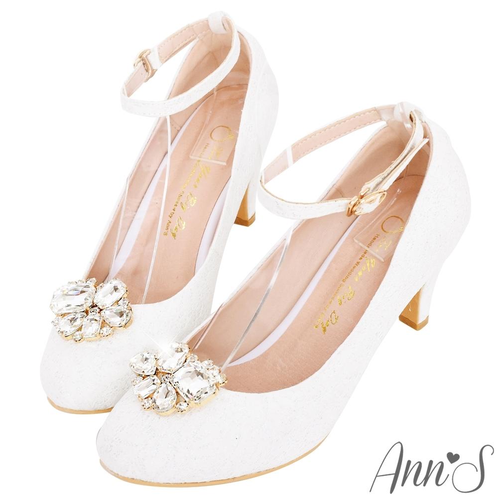 Ann'S公主夢-夾式鑽扣多way蕾絲圓頭繫帶跟鞋-白
