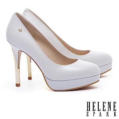 高跟鞋 HELENE SPARK 經典優雅奢華金框珍珠微尖頭羊皮美型高跟鞋-白