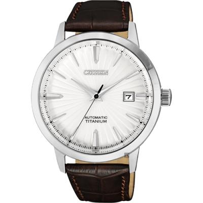 CITIZEN 星辰 鈦 自動上鍊機械手錶-白x咖啡/40.5mm(NJ2180-11A)