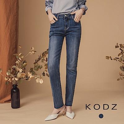 東京著衣-KODZ 完美比例刷色顯瘦不收邊小直筒牛仔褲-(共一色)