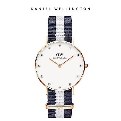 DW 手錶 官方旗艦店 34mm玫瑰金框 Classy 百搭藍白織紋鑽石錶
