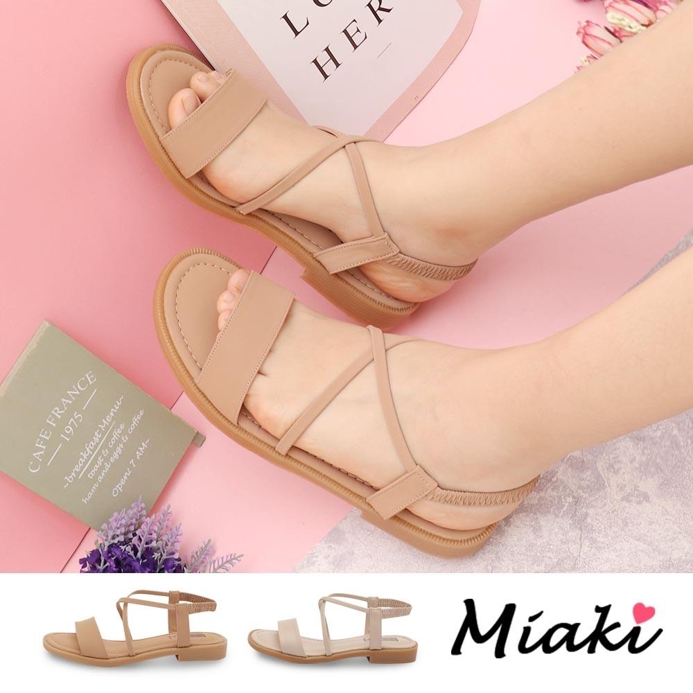 Miaki-涼鞋.一字交叉細帶平底涼鞋 (卡其色系)