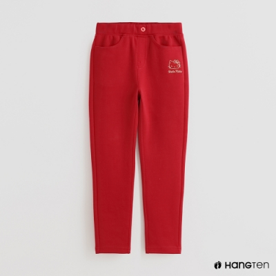 Hang Ten -童裝 - Sanrio-側邊童趣繡花運動長褲 - 紅