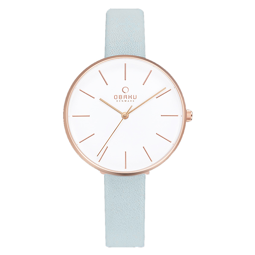 OBAKU日系典雅皮革女腕錶-藍(V211LXVIRL)/36mm