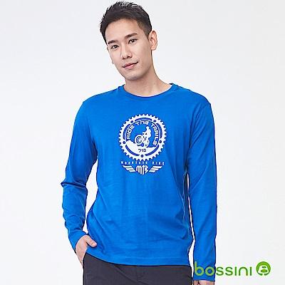 bossini男裝-印花長袖T恤11皇家藍