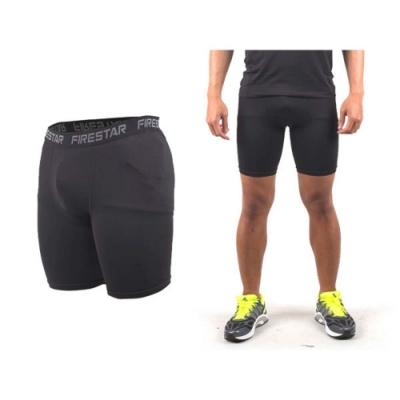 FIRESTAR 男機能緊身短褲-慢跑 路跑 運動短褲 麻灰黑