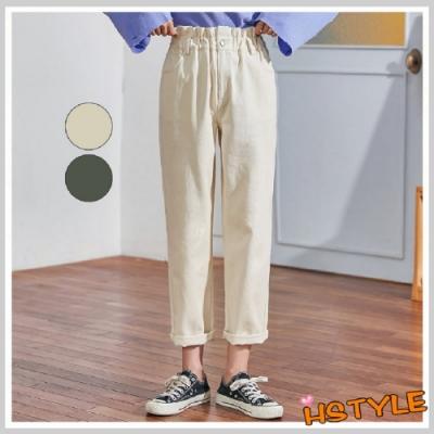 休閒褲 高腰寬鬆休閒直筒長褲GD01113-創翊韓都