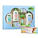 寶貝可愛Nac Nac 牛奶燕麥護膚禮盒五件組/附提袋+Nuby 口手柔濕巾/迷你8抽8包