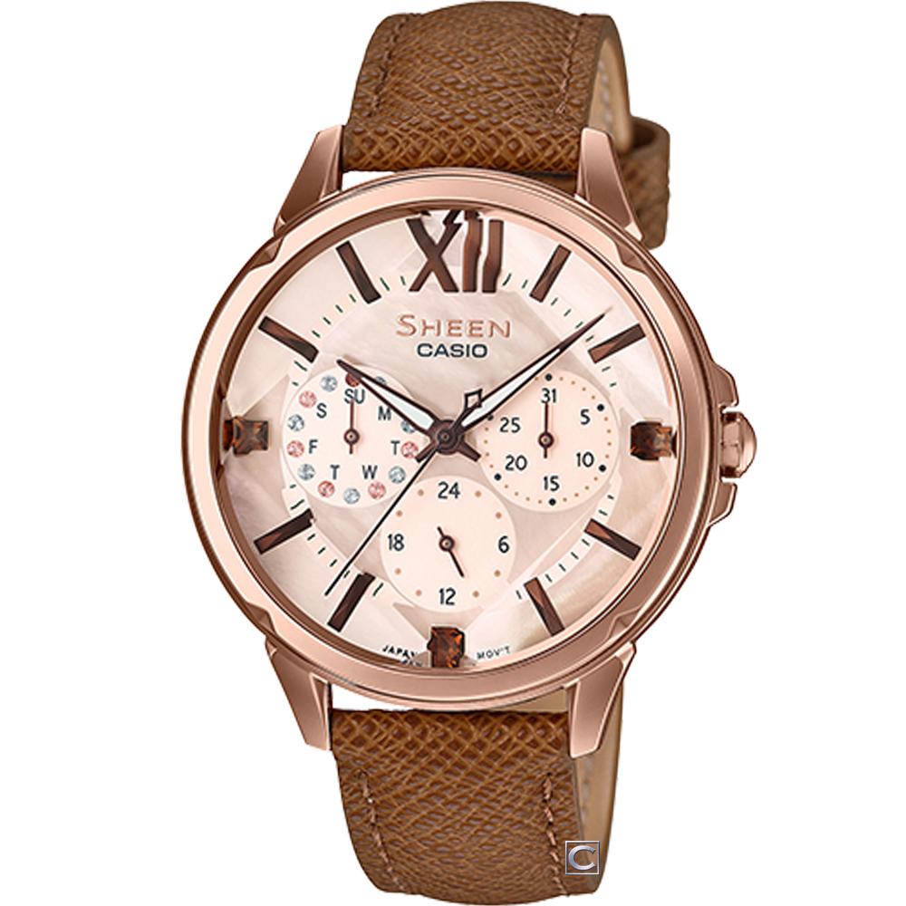 CASIO SHEEN 浪漫羅馬時尚腕錶(SHE-3056PGL-7A)37mm