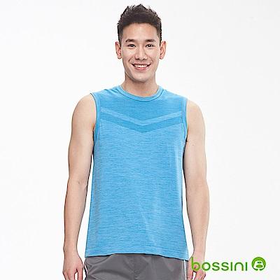 bossini男裝-無縫圓領背心天藍