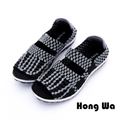 Hong Wa - 運動休閒透氣渲染編織魚口布鞋 - 黑