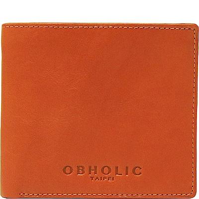 OBHOLIC 橘色牛皮男士錢包皮夾短夾(相框款)