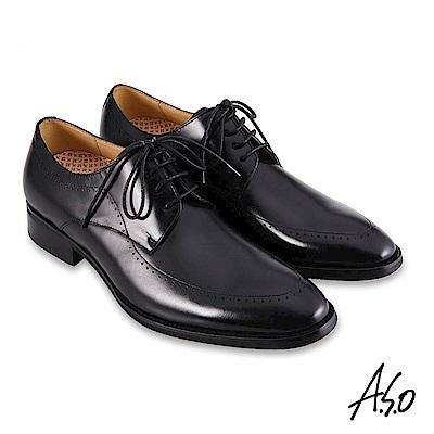 A.S.O職場通勤 零壓挺力刷色工藝德比紳士鞋-黑