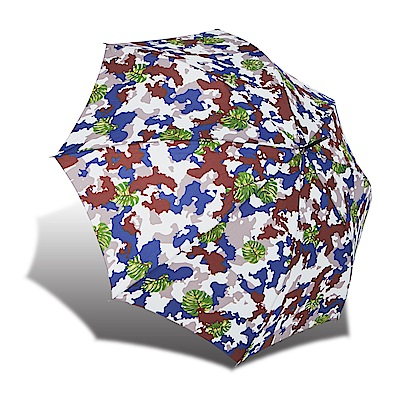 RAINSTORY 熱帶迷彩 抗UV自動開直骨傘-藍