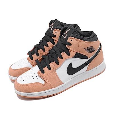 Nike 休閒鞋 Air Jordan 1 Mid GS Pink Quartz 女鞋 經典喬丹 皮革 穿搭 大童 粉 白 555112603