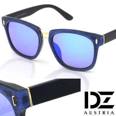 【2件59折】DZ 獨特彩木手工立體紋 防曬太陽眼鏡墨鏡(藍框冰藍膜)