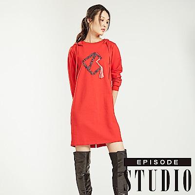 EPISODE Studio - 學院編織連帽洋裝(紅)