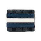 COACH 滿版大C藍白條紋PVC對折短夾(黑灰)