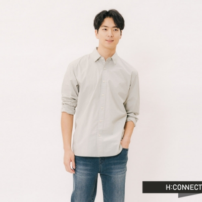 H:CONNECT 韓國品牌 男裝 - 質感純色棉質襯衫-綠