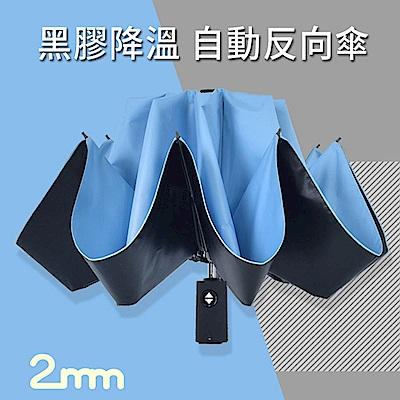 2mm 原色調性黑膠降溫自動開收反向傘 (清新藍)