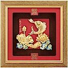 純金祥和金箔畫系列~鯉魚【連年有餘】....24 x24 cm