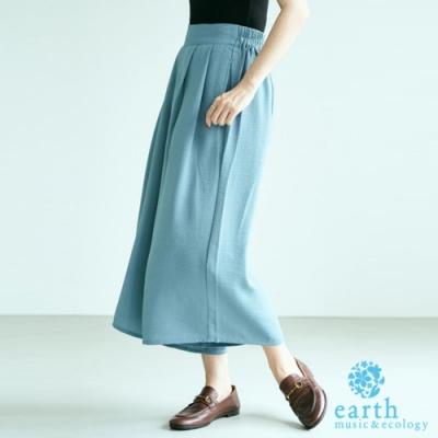 earth music 定番素面打摺寬褲裙