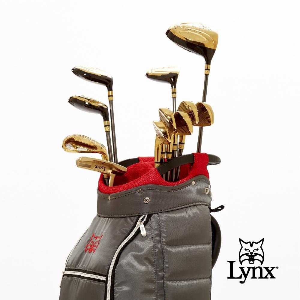 【Lynx Golf】男款Lynx山貓 Black Cat高爾夫套桿組(附球袋)-金頭