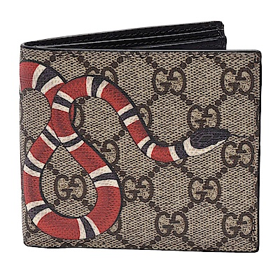 GUCCI 經典Kingsnake系列蛇型圖騰印花摺疊零錢袋短夾(黑色_4卡)