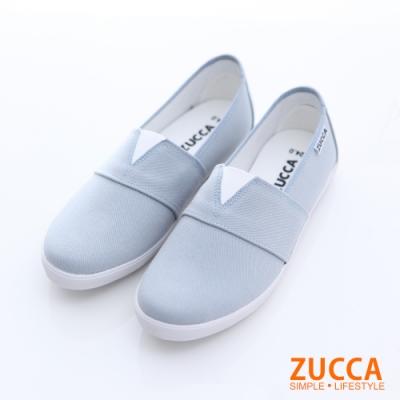 ZUCCA-素皮革開岔平底包鞋-藍-z6622be