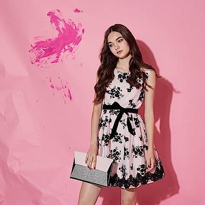 Ribbon 雙層設計拼接3D蕾絲雕花造型禮服洋裝-粉(共2色)