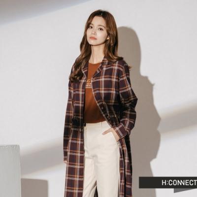 H:CONNECT 韓國品牌 女裝-格紋縮腰排扣洋裝-酒紅