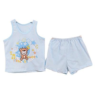 魔法Baby 歡樂熊印花背心套裝 藍 k50462