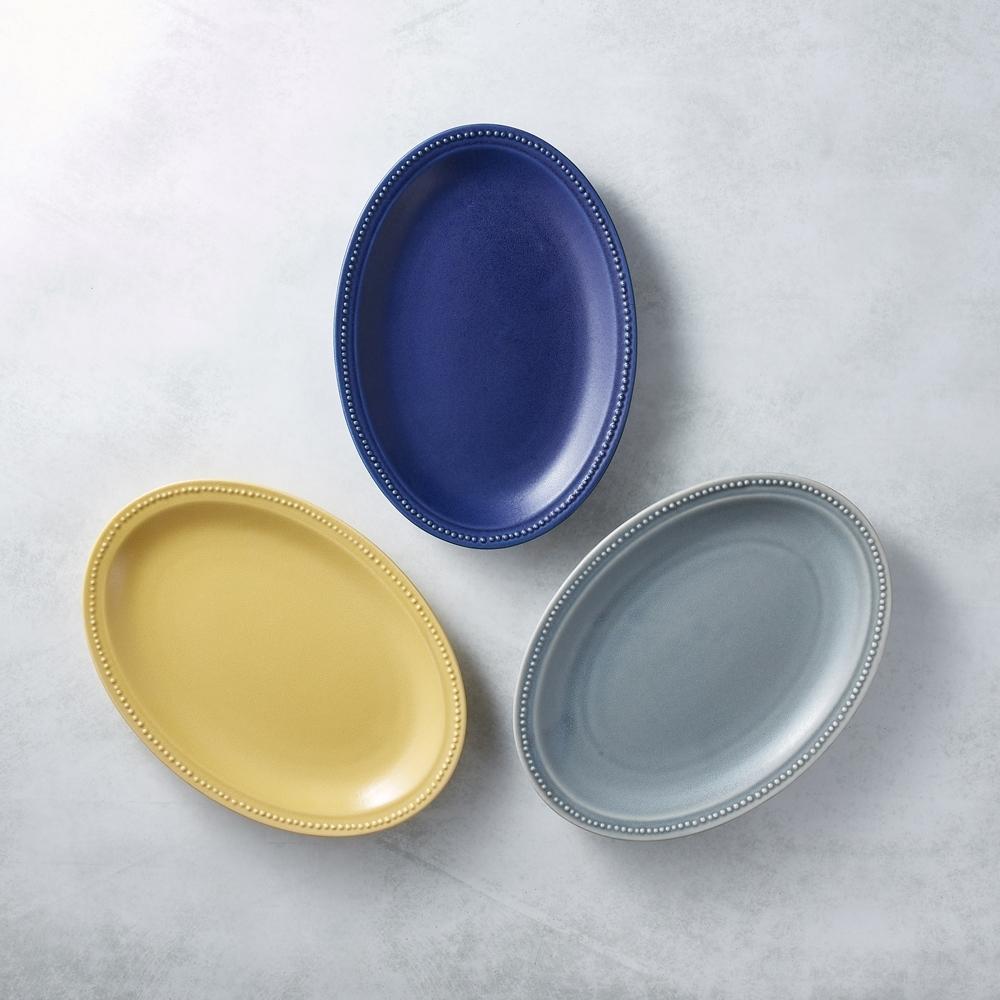 日本美濃燒 - 珍珠邊橢圓淺盤 - 三件組