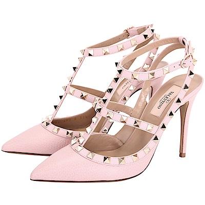 (無卡分期<b>12</b>期)VALENTINO ROCKSTUD 鉚釘繫帶高跟鞋(粉色)