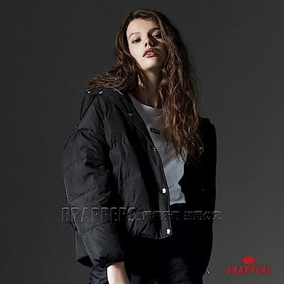 BRAPPERS 連帽短版羽絨外套-男女適穿-黑