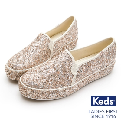 Keds x kate spade TRIPLE 婚禮璀璨厚底休閒便鞋-玫瑰金