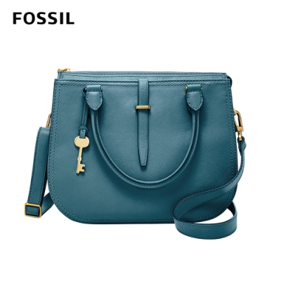 FOSSIL RYDER 真皮圓弧手提/側背兩用包-湖水藍 ZB7412981