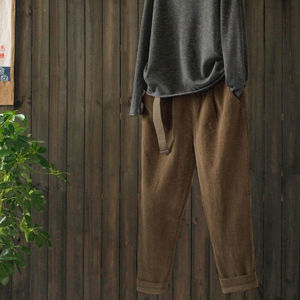 質感廓型寬鬆提花加厚休閒燈芯絨哈倫長褲-設計所在