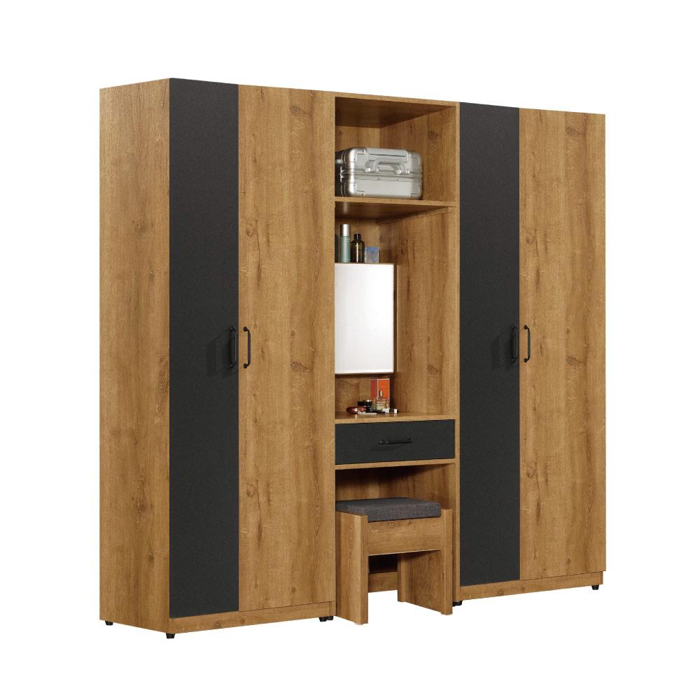 文創集 歐斯汀7.1尺開門衣櫃(吊衣桿+抽屜+鏡台)-121x60.5x196.5cm免組