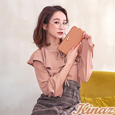 KINAZ 唯美期許L型拉鍊長夾-蜜桃甜粉-甜蜜禮盒系列