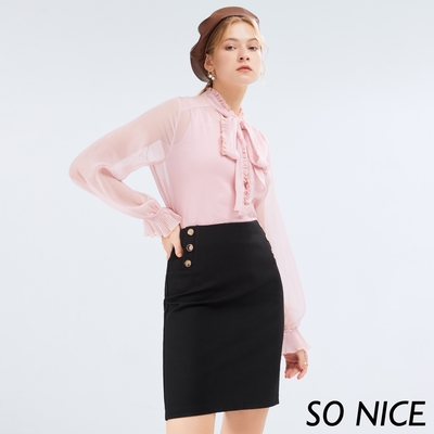 SO NICE簡約金屬釦羅馬布短裙