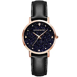 HANNAH MARTIN 璀璨星空皮帶腕錶-黑帶x36mm(HM-XK36-FH)