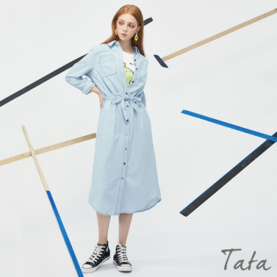 排扣綁帶牛仔洋裝 共二色 TATA-F