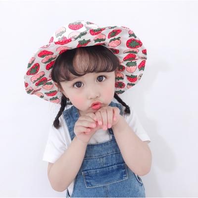 Baby童衣 兒童遮陽帽 女童防曬帽 女寶寶漁夫帽 草莓印花盆帽 寶寶出遊帽 88484