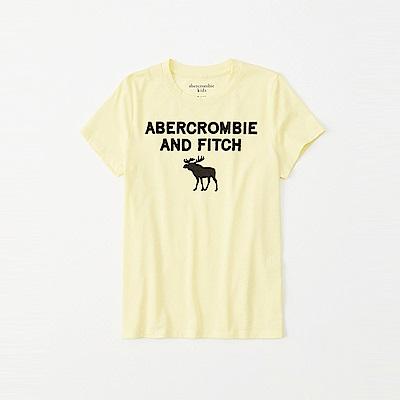 麋鹿 AF A&F 經典電繡大麋鹿文字短袖T恤(女青年款)-黃色
