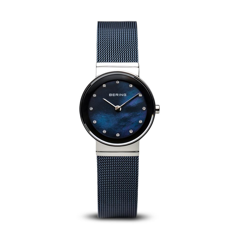 BERING- 晶鑽米蘭帶系列 珍珠母貝錶盤 北歐藍x銀 小錶面26mm