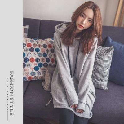 2F韓衣-簡約素色連帽上衣-灰(S-XL)