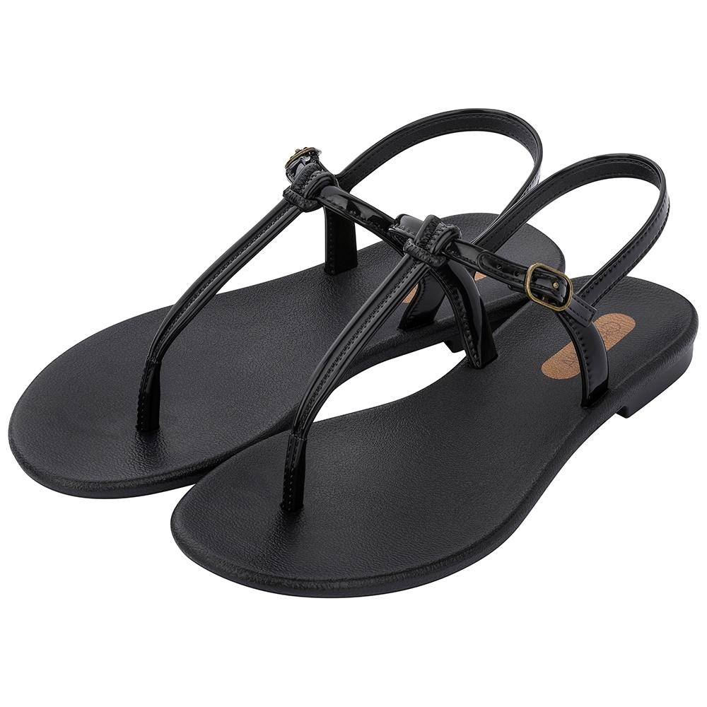 Grendha 極簡亮面T字帶平底涼鞋-純黑色