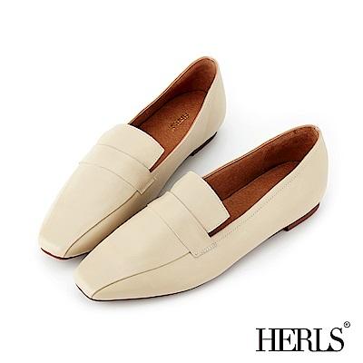 HERLS 舒適輕盈 全真皮線條感橫帶樂福鞋-米色